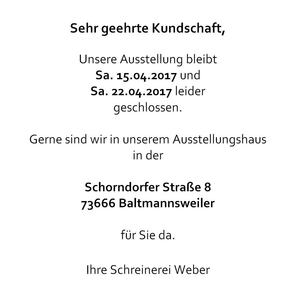 Schreinerei Weber Gmbh Ffnungszeiten